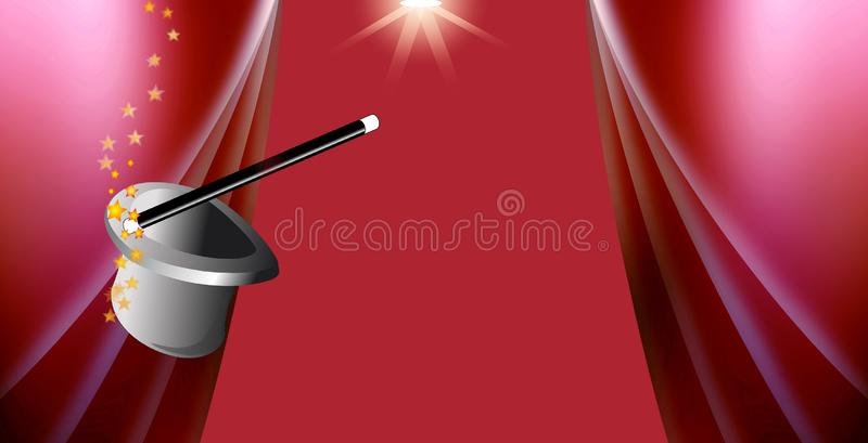 Magic hat against red curtain background panorama royalty free stock photo