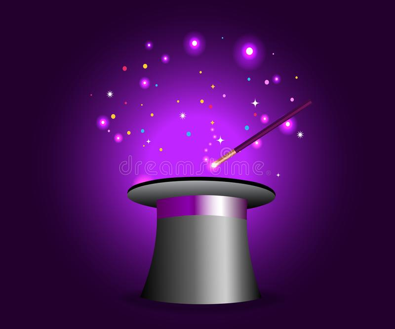 Magic hat with wand on violet mysterious background stock illustration