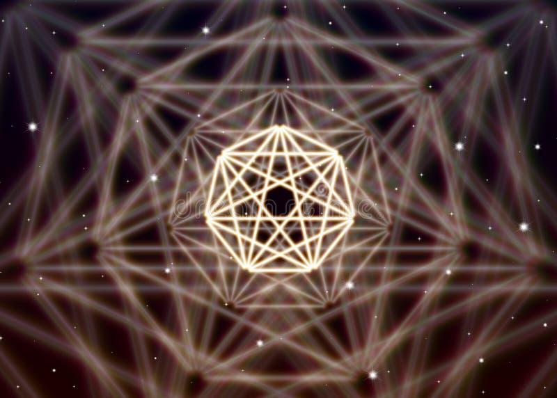 Magic heptagon symbol spreads the shiny mystic energy in spiritual space. Magic heptagon symbol spreads the mystic energy in spiritual space stock illustration