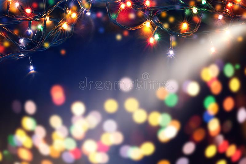 magic holiday background with blurred bokeh of Christmas lihjts stock images