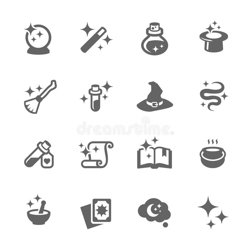 Magic Icons. Simple Set of Magic Related Vector Icons for Your Design stock illustration