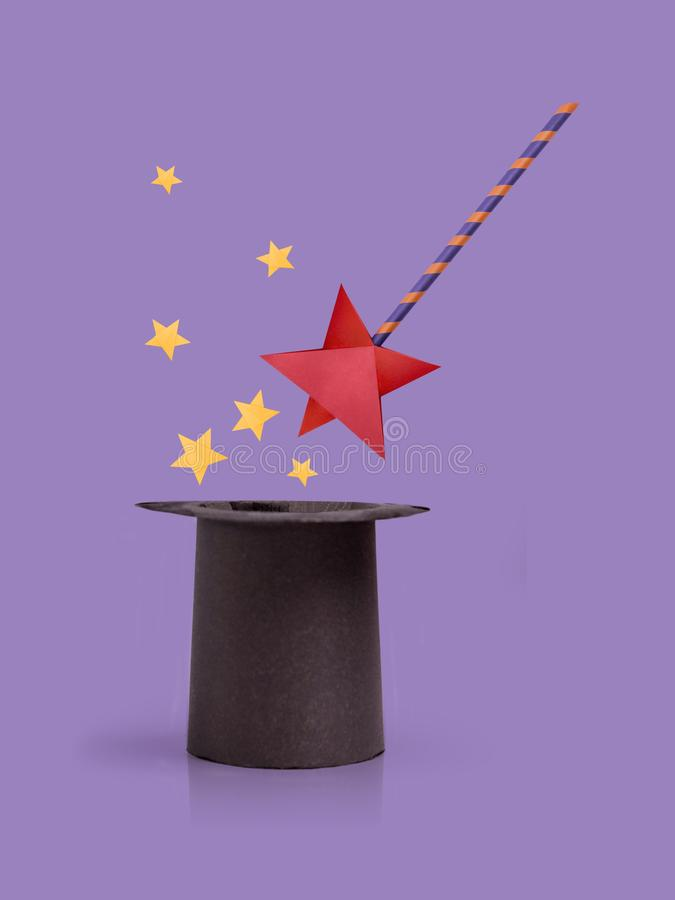 Magic wand and cylinder hat royalty free stock photo