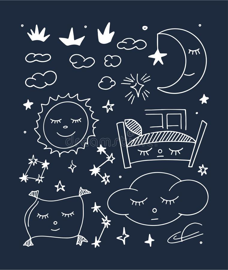 Magic illustration with hand doodles icon. Night sweet. Magic illustration hand doodles icon. Beautiful childish night elements and characters. Sweet dreams royalty free illustration