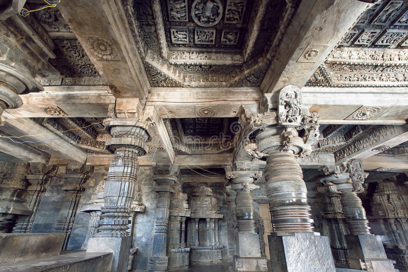 Magic of Indian architecture on example of 12th century stone temple Hoysaleswara with carvings, Karnataka of India. Temple was built in 1150 by king of royalty free stock photo
