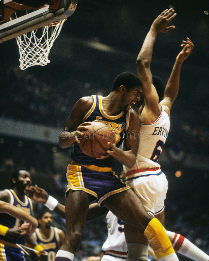 Magic Johnson et Julius Erving image stock