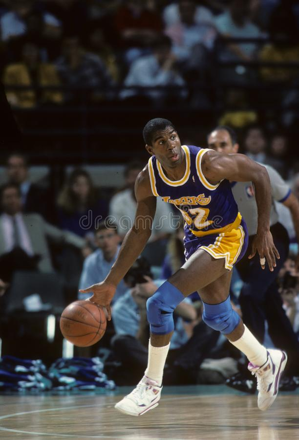 Magic Johnson of the Los Angeles Lakers stock images