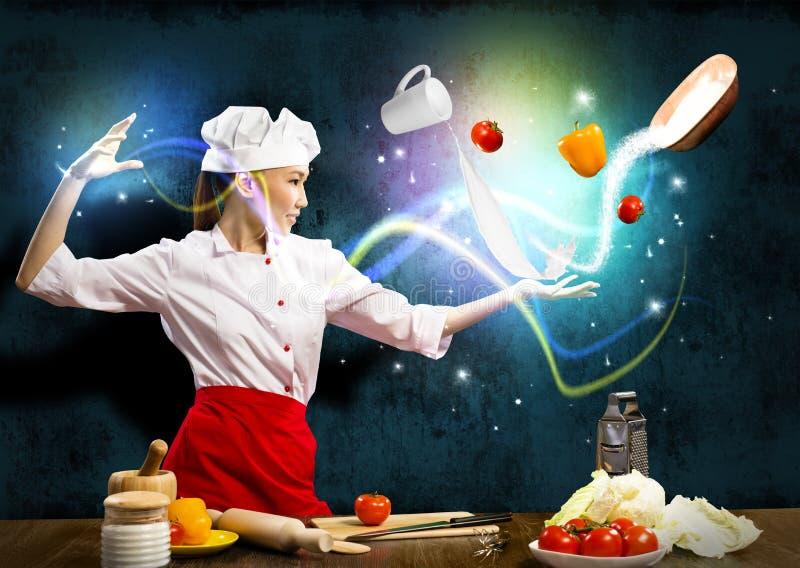 Magic in the kitchen stock photos