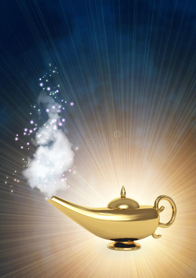 Magic lamp. Symbol performance of desires - magic lamp vector illustration