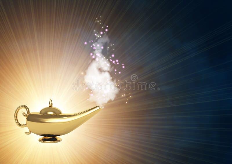 Magic lamp. Symbol performance of desires - magic lamp royalty free illustration