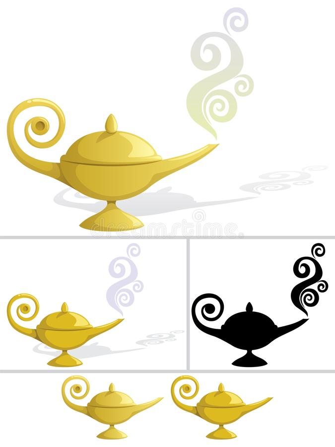 Magic Lamp. In 5 variations. No transparency used. Basic (linear) gradients used in some versions. No gradients in the rest. The last 2 are without shadow and royalty free illustration