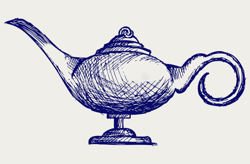 Magic lamp. Doodle style. Sketch vector stock illustration