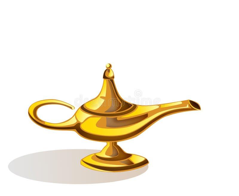 Magic lamp of Aladdin. Aladdin's magic lamp with shadow isolate on white royalty free illustration