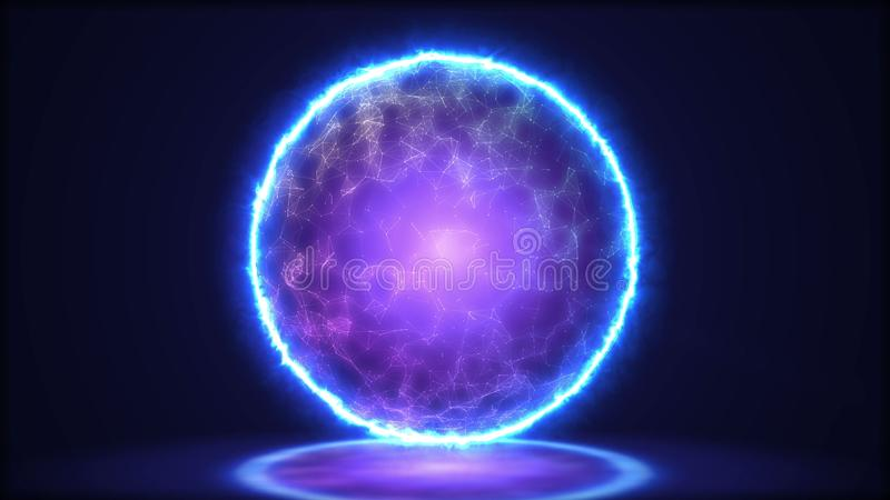 Magic lamp closeup. Energy inside the sphere.3D illustration royalty free illustration