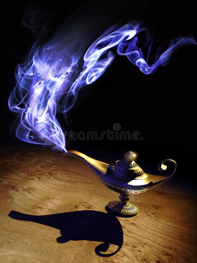 Magic lamp. And frightening genie coming out from it royalty free illustration