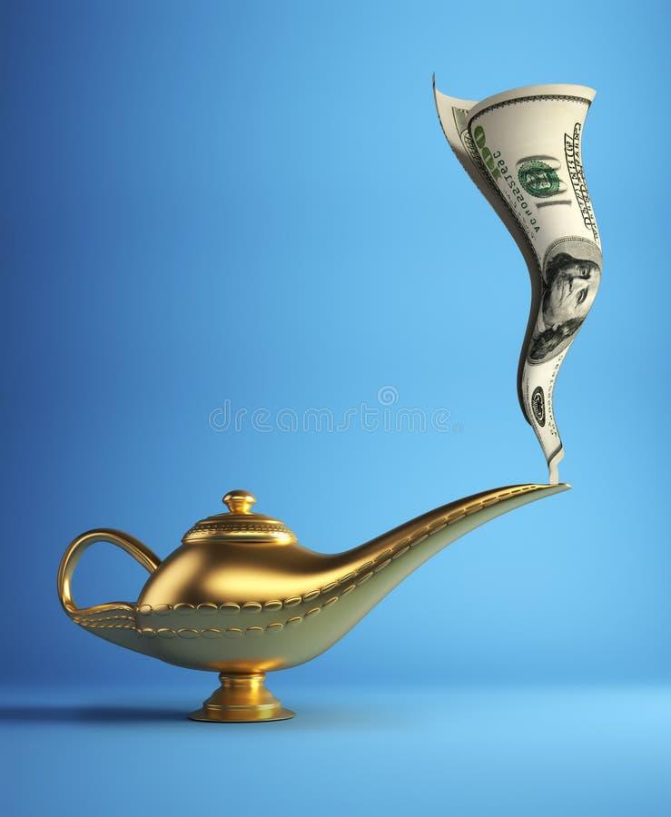 Magic lamp with money. Golden magic Aladdin lamp smoking money - 3d render vector illustration