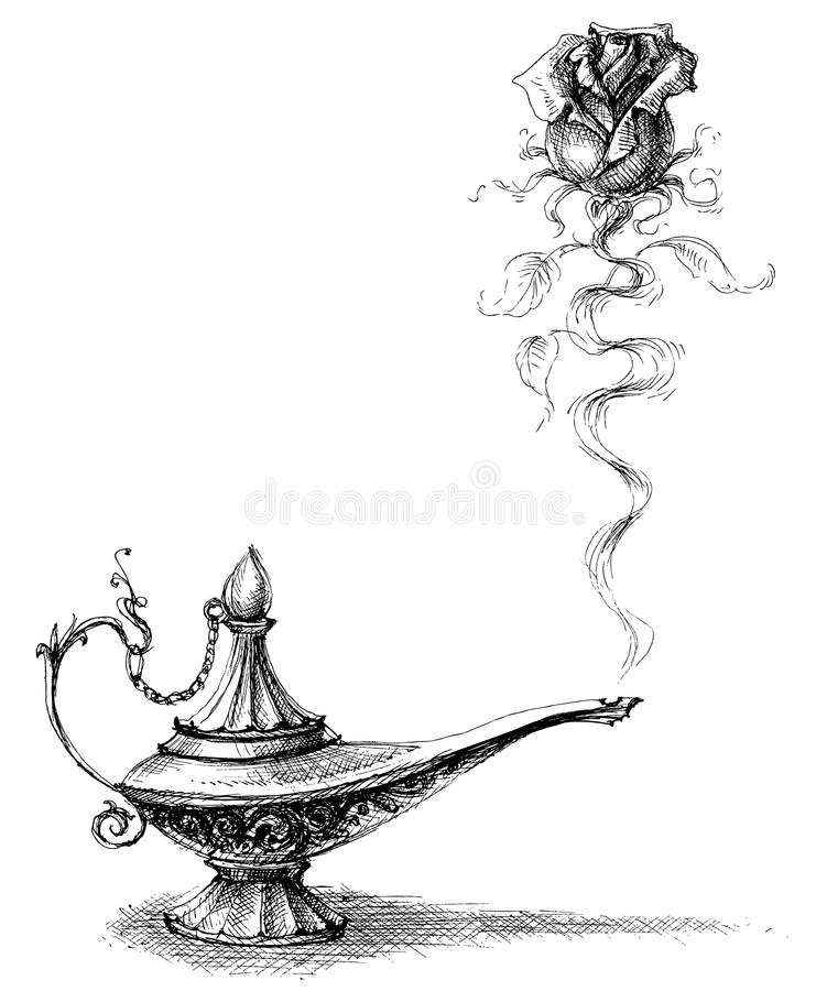 Magic lamp and rose royalty free illustration