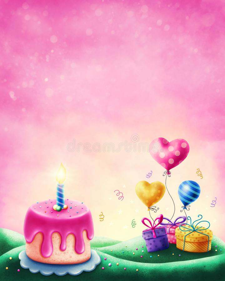 Magic landscape. With cake and gift boxes royalty free illustration