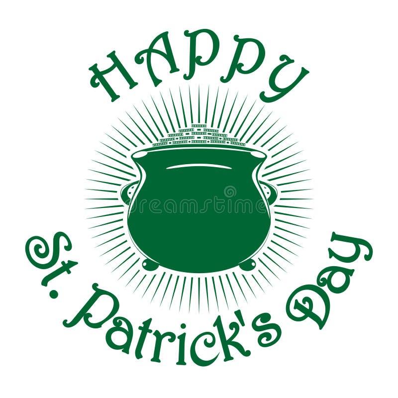 Magic leprechaun pot of gold coins. St. Patricks Day celebration symbol royalty free illustration