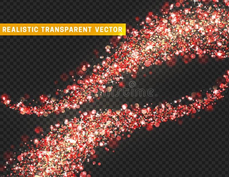 Magic light effect texture. Realistic particle glitter stars, hearts, circles spots. stock illustration