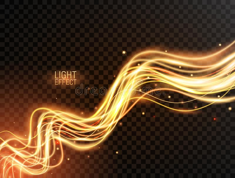 Magic light. Gold wavy dynamic lines with sparkles on transparent background. Futuristic waves in speed motion. Glowing swirl trai vector illustration