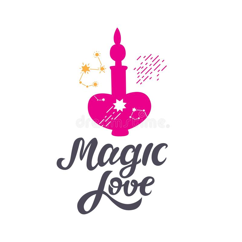 Magic love hand-drawn sign with poison bottle and space elements, stars, constellations royalty free illustration