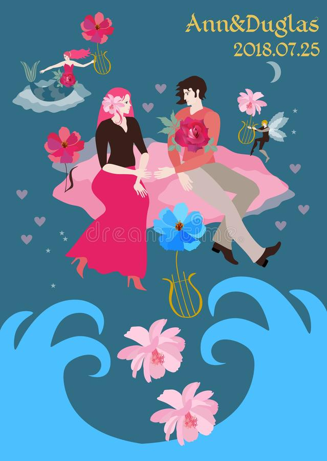 Magic of love. Young happy couple flying on pink clouds over the ocean. Wedding invitation in vector.  stock illustration