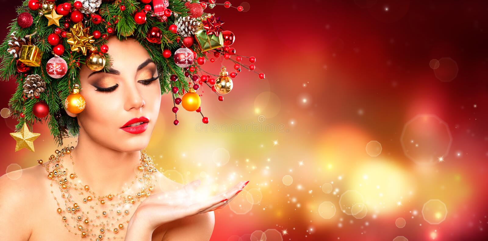 Magic Make Up - Model Woman With Christmas Tree stock photography