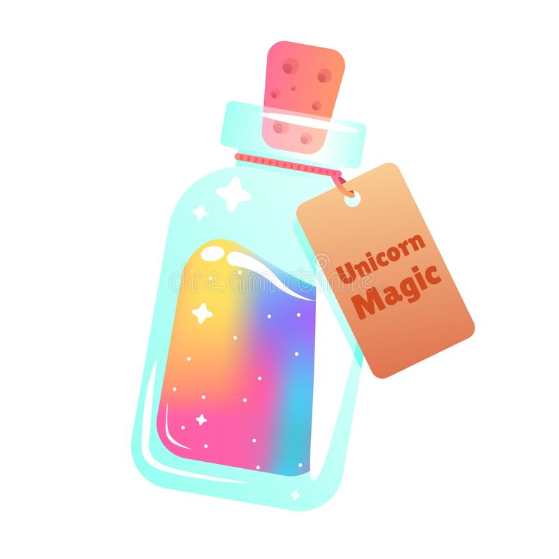 The magic mana of a unicorn. Rainbow liquid with star in the bottle stock illustration