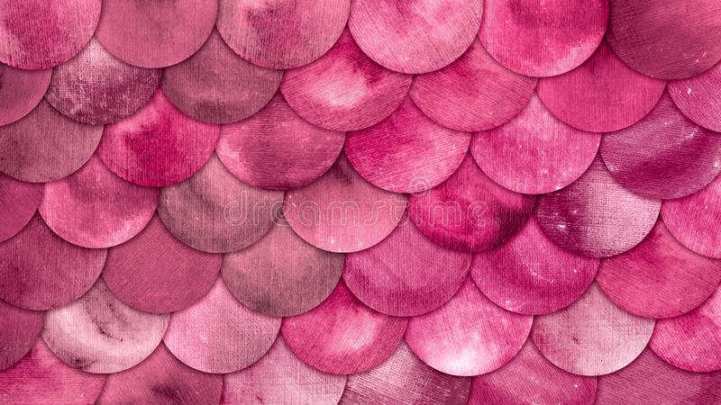 Magic Mermaid Bright Pink Color Scales Watercolor Fish squame background. stock photo