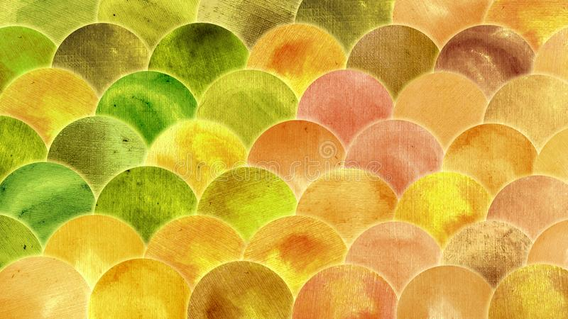 Magic Mermaid Golden Green Orange Color Scales Watercolor Fish Squame Background. royalty free stock images