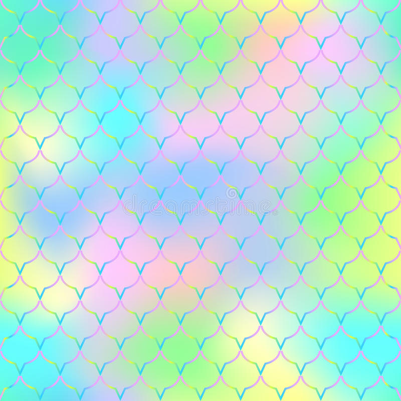 Magic mermaid tail background. Vibrant seamless pattern with fish scale net. royalty free illustration