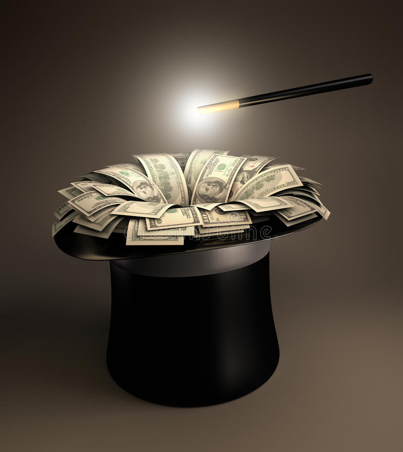 Magic Money. Magic wand making up a lot of money into the magic hat