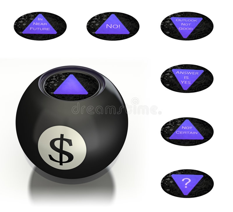 Magic money ball predicts future royalty free illustration