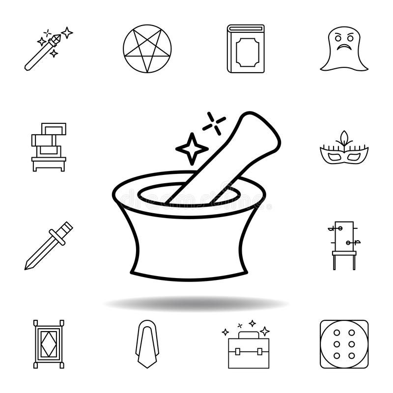 Magic mortar outline icon. elements of magic illustration line icon. signs, symbols can be used for web, logo, mobile app, UI, UX. On white background vector illustration