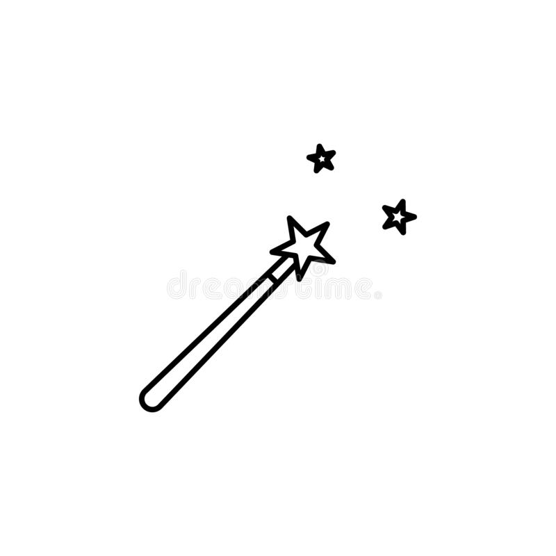 magic movie icon. Simple thin line, outline vector of movie, cinema, film, screen, flicks icons for UI and UX, website or mobile stock illustration
