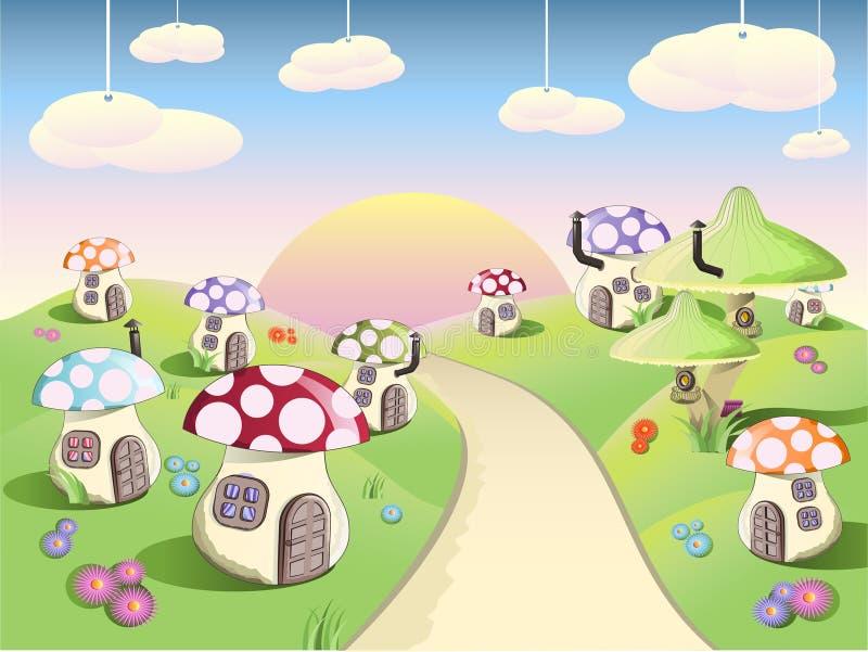 Download Magic mushroom glade stock vector. Image of illustration - 15425582