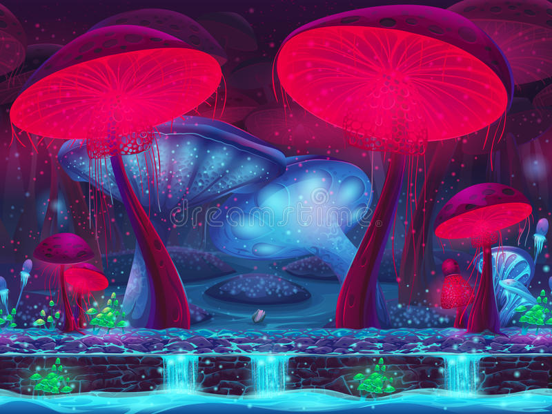Magic Mushroom Hollow - mystical background (seamless).
