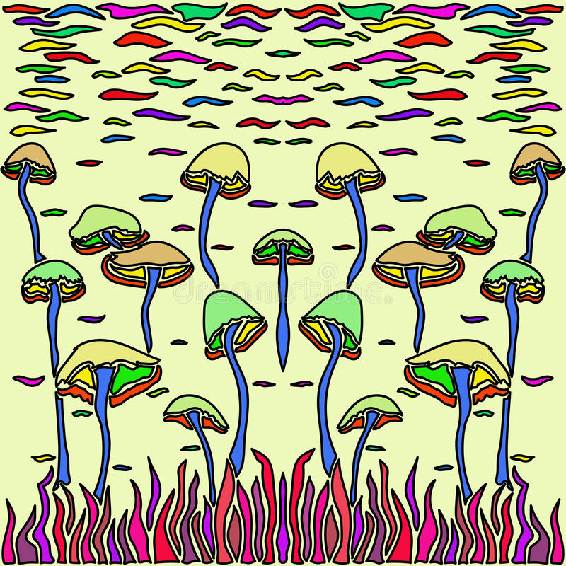 Magic Mushrooms in abstract art style. Vector image of Magic mushrooms in abstract style, done in a slightly psychedelic manner royalty free illustration