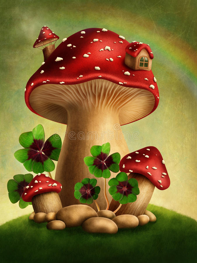Magic mushrooms stock illustration
