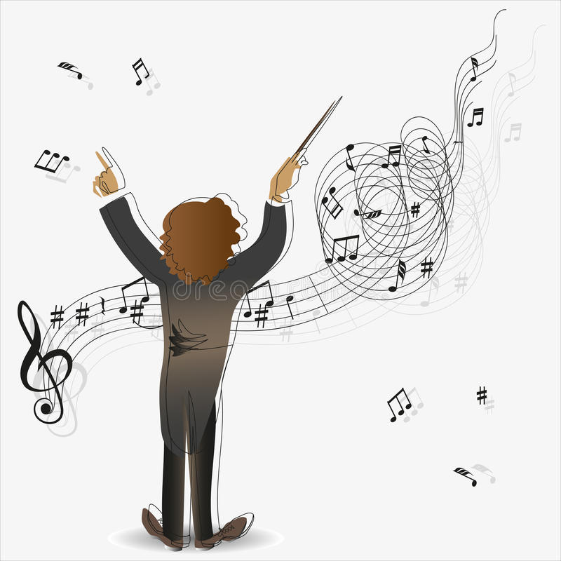 Magic of music. Conductor. The composition for the design of advertising leaflets, illustrations, concert programs, announcement of performances in magazines vector illustration