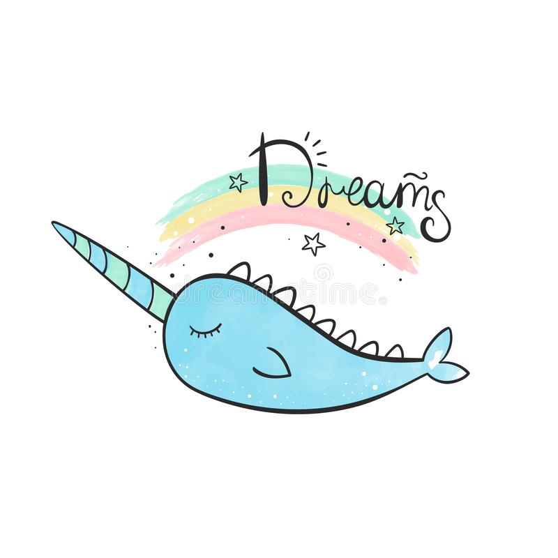 Magic narwhal. A whale with a horn. Watercolor illustration. Magic narwhal. Watercolor illustration White bg stock illustration