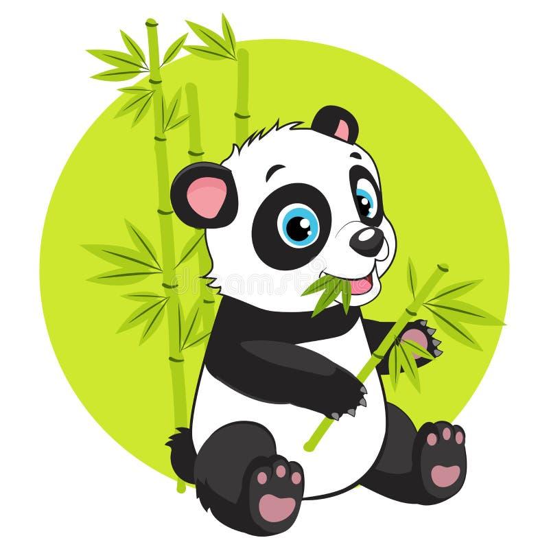 Magic Nature. Cartoon Panda Eats Bamboo Branch Vector Illustration. Cute Baby Panda Bear In Bamboo Forest Vector Image. Cartoon Panda Eats Bamboo Branch Vector vector illustration