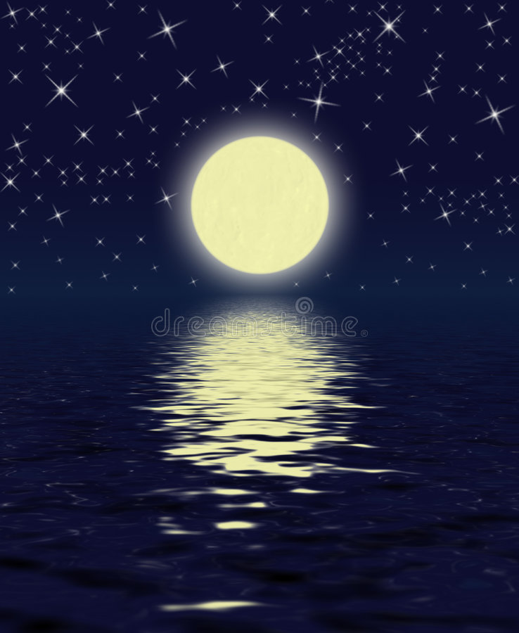 Magic Night. Moon, Stars, Water vector illustration