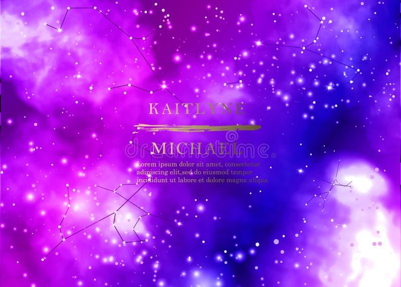 Magic night dark blue sky with sparkling stars vector wedding invitation. Andromeda galaxy. Gold glitter powder splash background vector illustration
