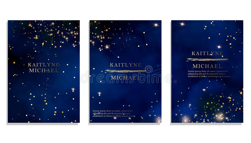 Magic night dark blue sky with sparkling stars vector wedding invitation. Andromeda galaxy. Gold glitter powder splash background. Magic night dark blue sky with vector illustration