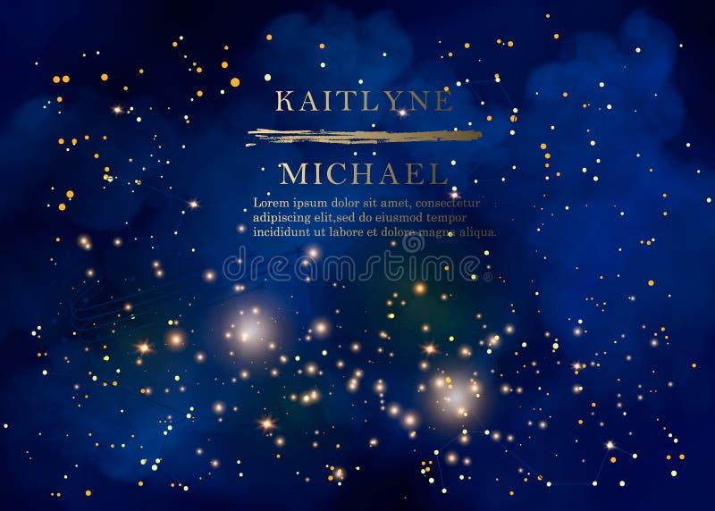 Magic night dark blue sky with sparkling stars vector wedding invitation. Andromeda galaxy. Gold glitter powder splash background stock illustration