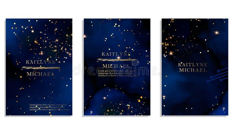 Magic night dark blue sky with sparkling stars vector wedding invitation. Andromeda galaxy. Gold glitter powder splash vector illustration