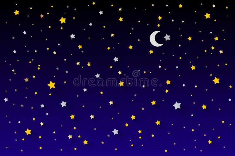 Magic night dark blue sky with sparkling stars vector wedding invitation. Andromeda galaxy. Gold glitter powder splash background royalty free illustration