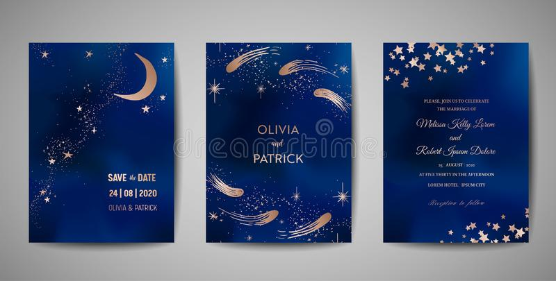 Magic night dark blue sky with sparkling stars wedding invitation. Set of Save the Date Cards with gold glitter powder royalty free illustration