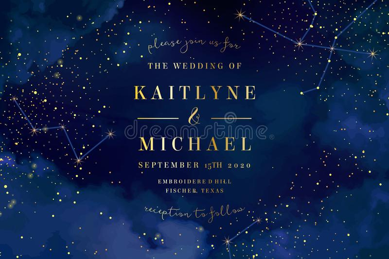 Magic night dark blue sky with sparkling stars vector wedding in royalty free illustration